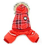 SMALLLEE_LUCKY_STORE XY000315-L Dog Coat Fleece Lined Hoodies Jumpsuits Outfits, Red, Large