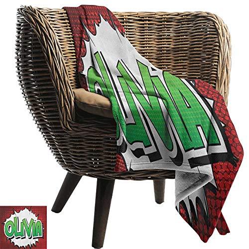 ZSUO kingsize deken Olivia, gestippelde achtergrond met kalligrafische traditionele vrouwelijke naam Illustratie Maroon en mosterd alle seizoenen licht gewicht woonkamer/slaapkamer