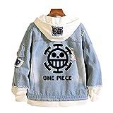 One Piece Anime Hombre Mujer Chaquetas de Mezclilla Denim Jacket Cosplay Jeans Hoodie Sudaderas (7,EU 2XL(Asian 3XL))