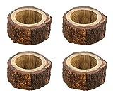 Ajuny Juego de 4 servilleteros decorativos hechos a mano de madera para cena, fiesta, decoración de...