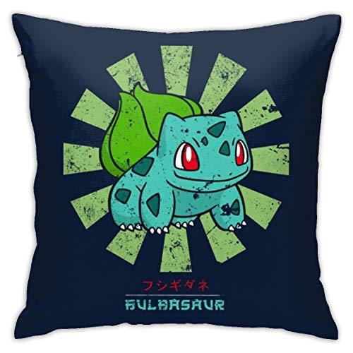 HONGYANW Bulbasaur - Funda de almohada retro japonesa con diseño de monstruo del bolsillo, impresión de doble cara, funda de almohada con cremallera oculta, hermosa funda de almohada de 45,7 x 45,7 cm