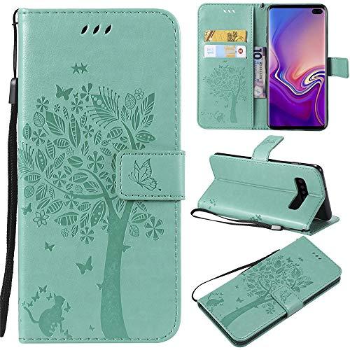 Capa carteira P20 lite 2019 em relevo Árvore de Gato Couro PU Flip Capa para celular Huawei Nova 5i - Verde bebê