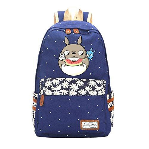 Double Villages Anime My Neighbor Totoro Cosplay Daypack Bookbag College Tasche Rucksack Schultasche (Blau 3)