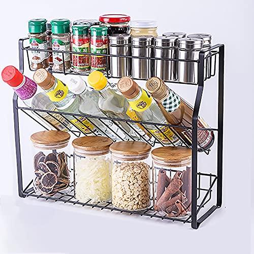 FYMIJJ Especiero Especiero de Cocina Estante de Almacenamiento de encimera de Cocina de 3 Capas,Botella de Especias,Tarro de condimento,Estante de Almacenamiento enlatado,Adecuado para Cocina y baño