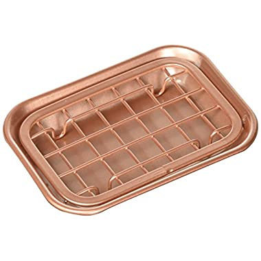 mDesign 2-Piece Soap Dish Tray for Kitchen Sink Countertops: Drainer and Holder for Soap, Sponges - Drainage Grid with Tray - Rust Resistant Stainless Steel Metal in Copper Finish