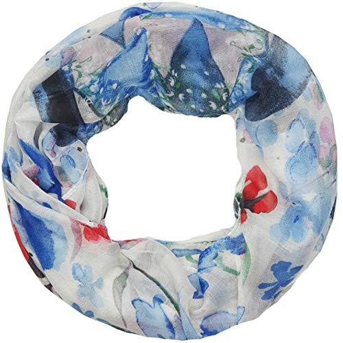 Zarter Sommer Loopschal Model: Blumen abstrakt angenehm und leicht zu tragen, Damen Rundschal, Schal, Loop, Sommerschal (10144) (blau)