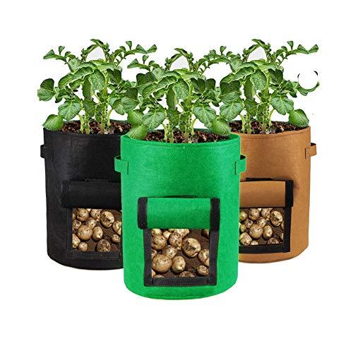 Houdao 3 Piezas Bolsa de Cultivo Tela no Tejida Sacos Tierra Jardin 4 Galones Respirable macetas Tela Adecuado para Patatas, Zanahorias, Tomates, Cebollas(4Galón)