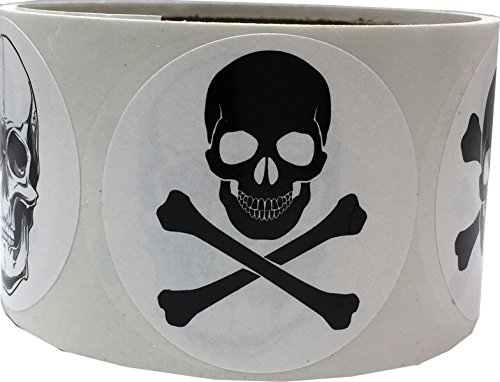 White Skull and Crossbones Circle Dot Stickers, 2 Inch Round, 100 Labels on a Roll