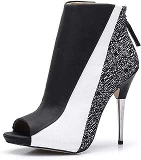 CAMSSOO Women's Open Toe Zipper Stilettos Sandals High Heels Platform Pumps Ankle Boots