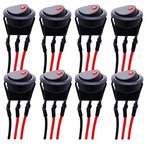 mxuteuk KCD2-102N-R-X - Interruptor basculante para coche o barco (8 unidades, CC 12 V, 20 A, interruptor basculante, luz LED roja, con cables presoldados)