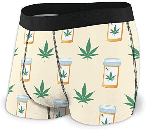xianjing6 Herren Unterwäsche Boxershorts Hemp Leaf Prescription Bottle Men's Quick Dry Performance Boxer Brief Regular Fit Underwear