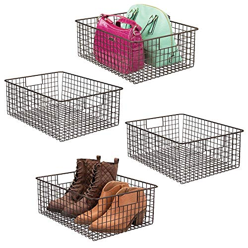 mDesign Large Farmhouse Metal Wire Storage Basket Bin Box with Handles for Organizing Closets, Shelves and Cabinets in Bedrooms, Bathrooms, Entryways and Hallways - 16' x 12' x 6' - 4 Pack - Bronze