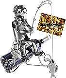 Brubaker Portabottiglie per Vino Pescatore - Deco-Oggetto in Metallo - con Biglietto di Auguri per Regalo Vino