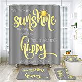 ArtSocket 4 Piece You are My Sunshine Shower Curtain Sets Yellow on Gray Bathroom Accessories Set with Non-Slip Rug, Toilet Lid Cover, Bath Mat and 12 Hooks 72x72inch