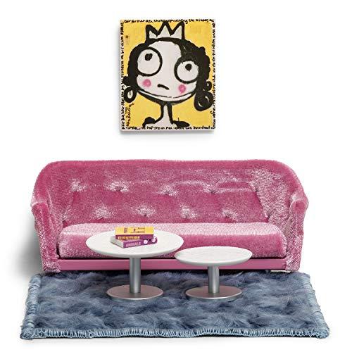 Lundby 60200200 - Wohnzimmer Möbel Puppenhaus - Puppenhaus-Zubehör - Möbelset 7-teilig mit Sofa, 2 Couchtische, Teppich und Wandbild - Wohnzimmerset - ab 4 Jahre - Minipuppen 1:18