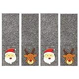 MACOSA CP68178 Bestecktaschen 4 STK. aus Filz Weihnachtsdekoration mit 2 Weihnachts Motiven Besteck-Tasche Bestecktüten Besteck Halter Besteckbeutel Tisch-Dekoration Deko grau
