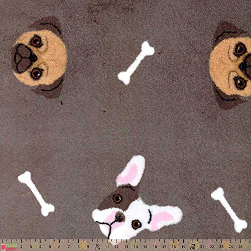 Plush Addict Knuffel Fleece - Franse Bulldogs Op Grijs - per meter