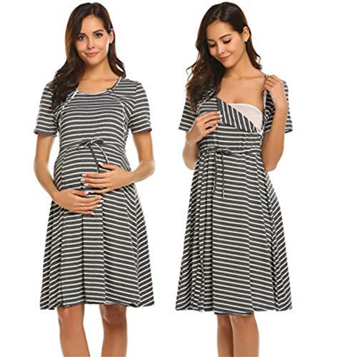 Camisón de maternidad para mujer, manga corta, para enfermería, parto laboral, hospital, lactancia, color gris, S