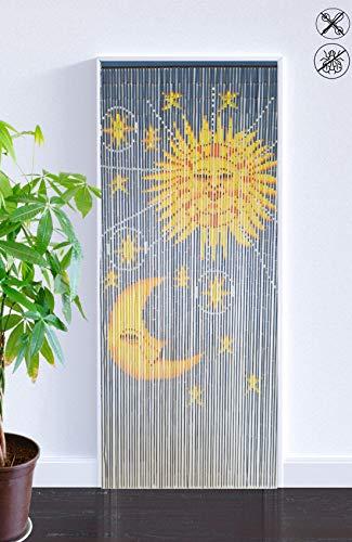 ABC Home Living Bambusvorhang Raumteiler Türvorhang Insektenschutz, Bamboo, Sonne & Mond, ca. 90 x 200 cm