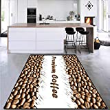 Coffee, Kids Carpet Playmat Rug, Freshly Roasted Arabica Beans Premium Quality Doodle White Border Being Robust, Area Rug Dorm Room 4' x 6' Cocoa White