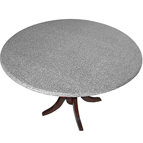 Table Cloth Round 36' to 48' Elastic Edge Fitted Vinyl Table Cover Polished Granite