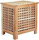 Relaxdays Wäschetruhe Walnuss mit Deckel und entnehmbaren Wäschesack ca. 70 l Volumen - geschlossener Wäschesammler aus Holz H/B/T ca. 55,5 x 52,5 x 39,5 cm, natur