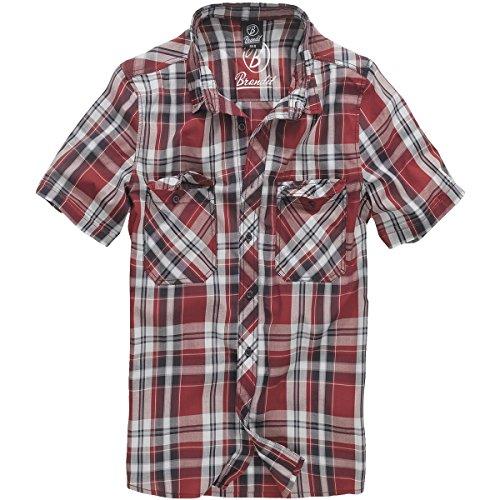 Brandit Herren Roadstar Shirt Hemd, Rot/Schwarz/Weiß, 3XL