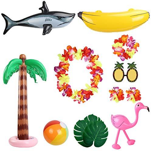 ZERHOK Hawaii Aufblasbare Spielzeuge Set, 10Stk Beach Party Deko Aufblasbare Palmen Rosa Flamingo Banane Hai Strand Bälle für Tropical Luau Tiki Summer Party Hintergrund