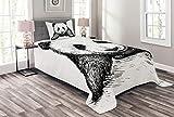 ABAKUHAUS Panda Tagesdecke Set, Babypandabär Sketch, Set mit Kissenbezug farbfester Digitaldruck, für Einselbetten 170 x 220 cm, Weiß Schwarz