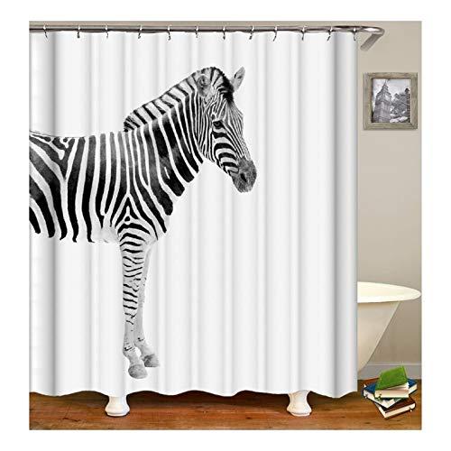 Amody Duschvorhang Stoff Waschbar Zebra Duschvorhang Fabric Antischimmel 90X180CM Duschvorhang Waschmaschine