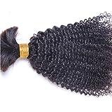 Hesperis Human Braiding Hair Bulk No Weft Afro Kinky Bulk Hair For Braiding Mongolian Afro Kinky Curly Crochet Braids Micro Braiding Hair 100g Per Bundle (20inch)