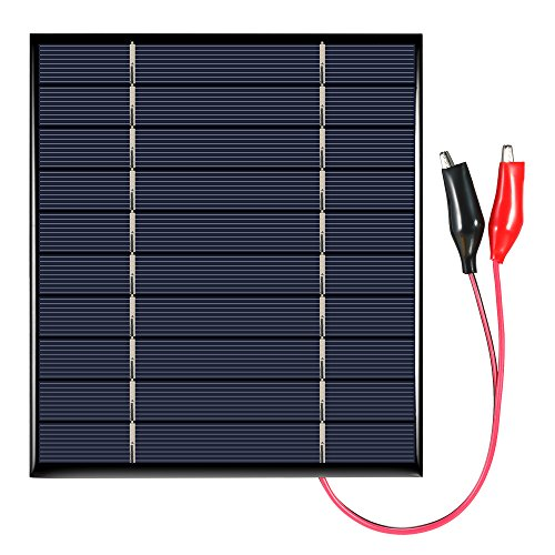 Solarmodul, Solar Bausatz, 2.5W 5V, Polykristallin Solarpanel Solarmodul Solarzelle Photovoltaik Solaranlage mit Krokodilklemmen