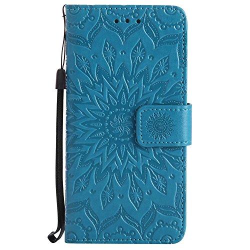 Funda Huawei P10, SONIDO Gofrado Mandala PU Billetera de Cuero Cover Carcasa con Ranuras para Tarjetas y Cierre Magnético para Huawei P10, Azul