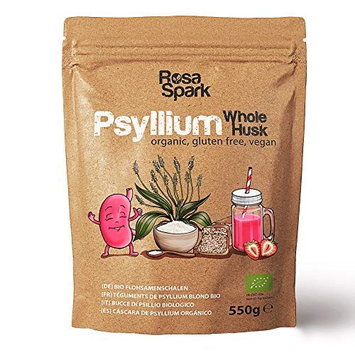 Rosa Spark Psyllium Husk - Whole, Organic, No Additives or Preservatives - Origin India - 99% Pure Extra White - Resealable Ziplock Bag 550g - Ideal for Vegan, Gluten Free, Low Carb and Keto Diets