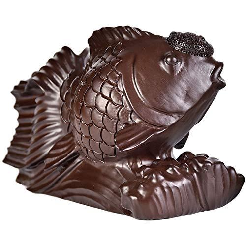 YISPING Handgemachte Massivholz Goldfisch Schnitzen Schmuck Wohnzimmer Bücherregal Tv Schrank Dekoration Mahagoni Geschenk (l20xb8xh12cm) Schreibtisch basteln (Color : Dark Brown, Size : 20x8x12cm)