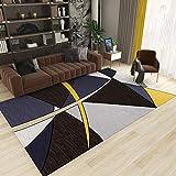 La Alfombra Antideslizante alfombras Alfombra Suave con diseño geométrico Azul Amarillo Negro fácil de Limpiar alfombras de Salon alfombras Comedor 120*170CM