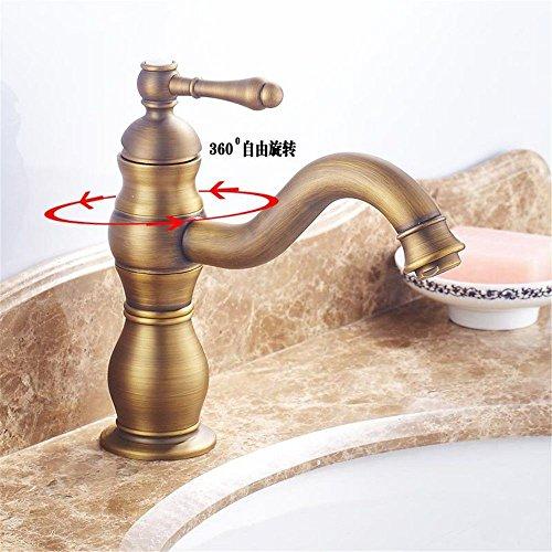 Waterkraan voor de badkamer, met waterkraan en uittrekbare handdouche, keukenkraan, waterkraan, voor vijver, antiek-look, van koper, kan worden gedraaid en snel worden geopend.