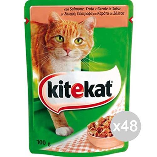 Set 48 KITEKAT Envelope Cat 100 Salmon Futter Für Katzen