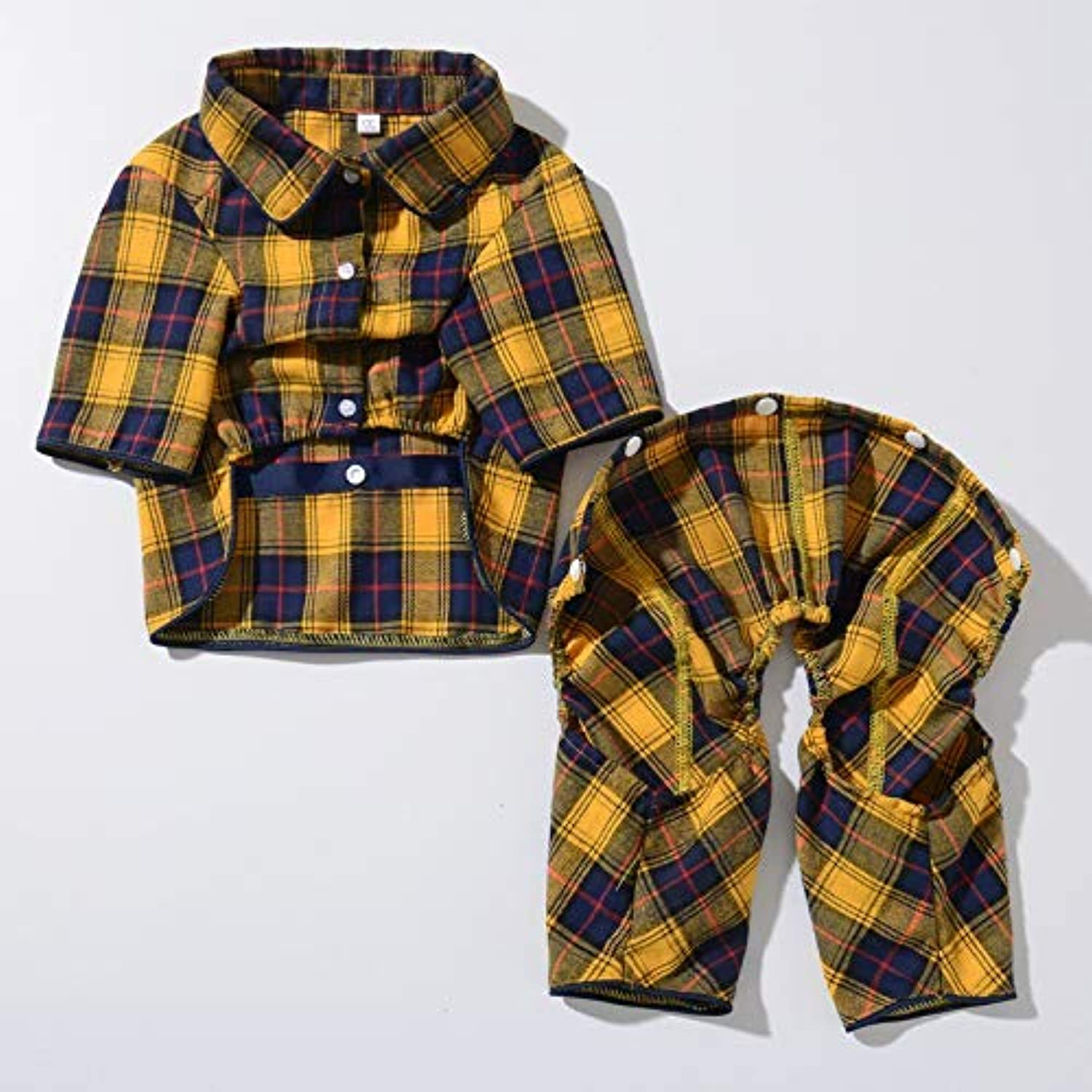 HeiPlaine Cute Coat Pet Supplies Misc Autumn and winter pet clothes shirt casual twolegged clothes pet puppy clothing spring and summer shirt dog clothes (color   Yellow, Size   L) Cute Clothes