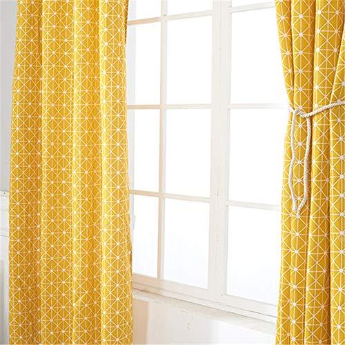 QianLei Cortina de tela nórdica de algodón y lino impresión amarillo tablero de ajedrez cortina semiopaca (A,140x215cm)