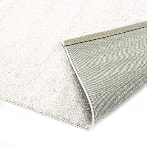 Designer-Teppich Pastell Kollektion | Flauschige Flachflor Teppiche fürs Wohnzimmer, Esszimmer, Schlafzimmer oder Kinderzimmer | Einfarbig, Schadstoffgeprüft (Natur Weiss, 120 x 170 cm)