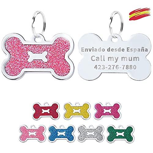 FUSIYU Placa Chapa Medalla, Etiquetas de Identificación de Mascotas Etiquetas de Perro Personalizada Grabado para Collar Perro Gato Mascota Grabada Brillantitos Aleación de Zinc, Hueso, Rosa