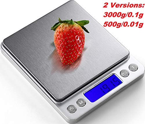 Digital Kitchen Scale, 2 Version: 3000g/ 0.1g ; 500g/0.01g Mini Pocket Jewelry Scale, Food Scale for kitchen, 2 Trays, 6 Units, Auto Off, Tare, PCS Function, Stainless Steel, Batteries Included