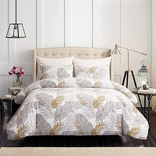 GETIANN Soft Bedding Duvet Cover Set Lightweight Hypoallergenic Microfiber Comforter Cover with 2 Pillow Shams Hotel Quality (Bananaleaf, Full/Queen)