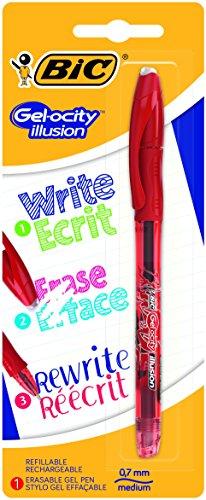 BIC Gel-ocity Illusion Bolígrafo de Gel Borrable punta media (0,7 mm) – Rojo, Blíster con 1 Unidad