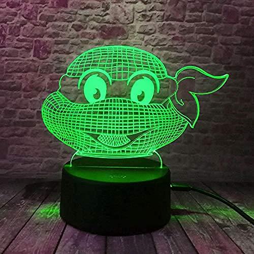 Veilleuse 3D Teenage Mutant Ninja Turtles LVYONG Lampe Illusion Avec Télécommande Optique Lumière De Nuit 16 Changements De Couleur Lampe De Chevet Avec Câble Usb Cadeaux Parfaits Pour Les Enfants