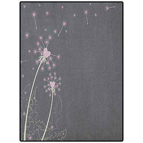 Pink and Grey Modern Family Room Carpet Area Rugs for Living Room Kid Girls Carpets Dandelion Flowers with Hearts Pastel Love Celebration Anniversary Pink Grey Pale Green 48' x 24'