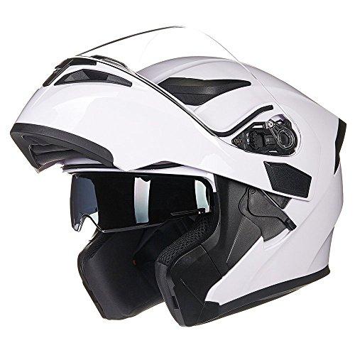 ILM Motorcycle Dual Visor Flip up Modular Full Face Helmet DOT 6 Colors (L, White)