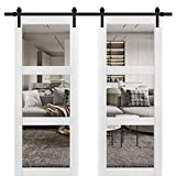 Sturdy Double Barn Door 72 x 84 inches with Clear Glass 3 Lites | Lucia 2555 Matte White | Top Mount 13FT Rail Hangers Heavy Set | Solid Panel Interior Doors