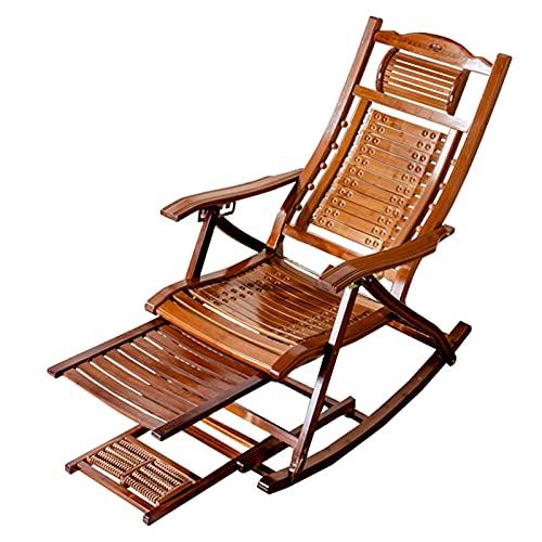 HWBB Tumbona Plegable Mecedora de Bambú del Reclinable al Aire Libre, Silla Relax Plegable para Patio con Almohada Reposacabezas y Mesa de Masaje de Pies, Silla de Gravedad de Salón Portátil